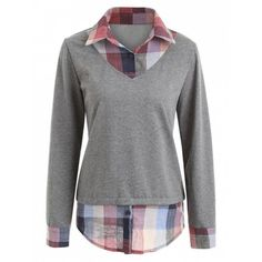 Plaid Patchwork Faux Two Piece Sweatshirt ($21) ❤ liked on Polyvore featuring tops, hoodies, sweatshirts, gray sweatshirt, grey top, tartan top, faux tops and gray top