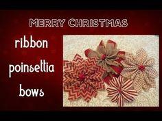 Creating Handmade Ribbon Poinsettia Bows - YouTube Christmas Signs Wood, Burlap Christmas, Farmhouse Christmas Decor, Christmas Ribbon, Christmas Angels, Christmas Decorations, Christmas Christmas, Dyi Crafts, Ribbon Crafts