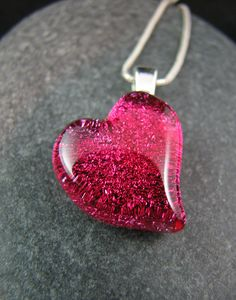 Valentine Fused Glass Necklace  Happy Pink $34.00