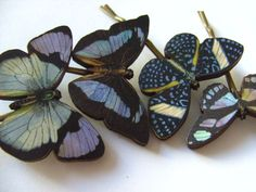 Blue purple and black wooden butterflies hair by NewellsJewels, £9.00