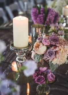 Purple and ivory centerpiece ideas