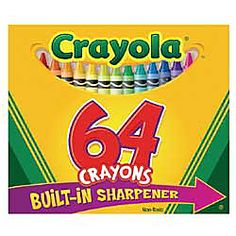 2. Your favorite school supply - Crayola® Standard Crayon Set With Built-In Sharpener, Assorted Colors, Box Of 64