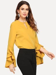 SHEIN offers Keyhole Front Solid Blouse & more to fit your fashionable needs. Spring Shirts, Fashion News, Fashion Styles, Ideias Fashion, Couture, Clothes For Women, Womens Fashion, Long Sleeve, Sleeves