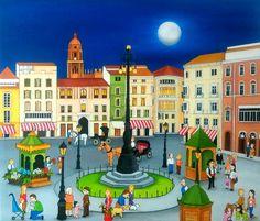 Mis ciudades Naif       Vista de Málaga   60x60 cms   Óleo sobre lienzo    ...