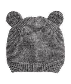 95b8f56862cb9 Garter-stitch knit hat in soft cotton with attached ears and