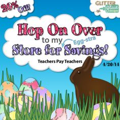 RECEIVE 20% OFF ON ALL CLIPART AND TEACHING MATERIALS IN MY TEACHERS PAY TEACHERS STORE ON EASTER SUNDAY, APRIL 20TH, 2014. No coupon codes required! Click to follow the link to my store. #edu #teacherspayteachers #artsed #clipart #sale