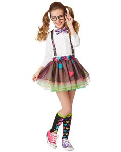 Girls Nerd Tutu at Spirit Halloween - This Girls Nerd Tutu shows that even nerds like to look cute. This rainbow colored tutu features heart details and an argyle print waistband. Get this colorful nerd look for $16.99