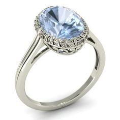 Prosper Engagement Ring with Oval Aquamarine | 2.82 carat Oval Aquamarine Solitaire Engagement Ring in 14k White Gold | Diamondere
