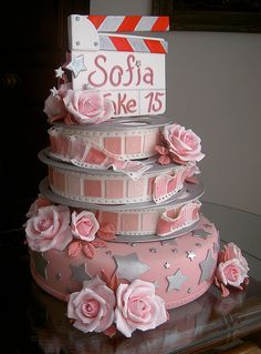Pink and Silver Tiered Cake