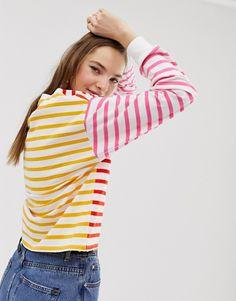e702e4d77ca8 ASOS DESIGN   ASOS DESIGN - T-shirt à manches longues et rayures  contrastantes Rayures