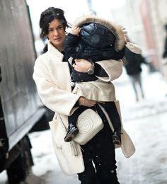 Manteau effet doudou + micro doudoune = le bon duo mère/fille !
