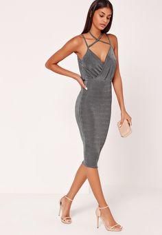 Missguided - Wrap Strappy Halterneck Slinky Midi Dress Grey