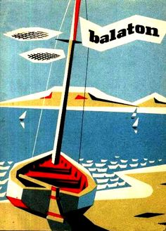 Cover for tourist map of Lake Balaton, Hungary, Poster Retro, Poster Art, Kunst Poster, Poster Prints, Art Prints, Pool Bar, Vintage Travel Posters, Vintage Ads, Retro Illustration