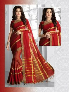 Sarees - Ruby Red And Golden Silk Cotton Collections - Traditional Cotton Silk Saree / Wedding / Special Occasions