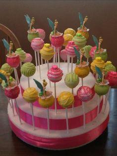 tinkerbell cakepops Fairy Cake Pops, Fairy Cakes, Birthday Cake Pops, Fairy Birthday Party, 3rd Birthday, Mini Cakes, Cupcake Cakes, Disney Cake Pops, Cake Pop Designs