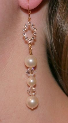 Gold toned Swarovski Crystal & Pearl by AliciasUniqueDesigns