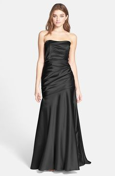 Dessy Collection Ruche Strapless Satin Gown available at #Nordstrom