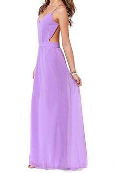 ROMWE Crossed Straps Blackless Longline Light-purple Dress
