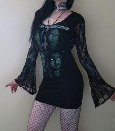 Type O Negative Lace Hooded Drape Tunic Mini Dress by HellCouture, $110.00