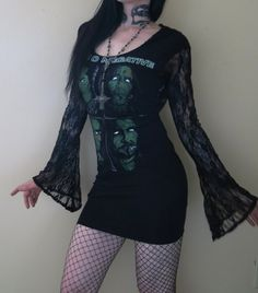 Type O Negative Lace Hooded Drape Tunic Mini Dress by HellCouture, $110.00