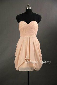 Blush Pink Chiffon Ruffle Bridesmaid Dress Sweetheart Neck Strapless Knee Length Short Prom Dress