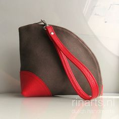 Leather Q-bag clutch / leather zipper pouch / leather by rinarts
