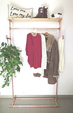 Top Shelf Wood Hooks Copper Pipe Clothing/Garment by moodymarsh Copper Pipe Shelves, Copper Pipes, Wood Chip Mulch, Wood Hooks, Metal Pipe, Garment Racks, Rack Shelf, Minimalist Home, Wardrobe Rack