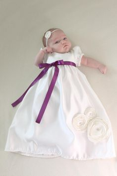Christening / Baptism / Blessing Dress with matching Flower Headband and Shoes Set