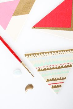 DIY Wooden Painted Triangle Geometric Necklace