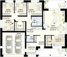 Gryf 4 projekt - Parter m gara? Building Plans, Building A House, Tiny Apartments, Small House Design, House Entrance, Facade House, New Room, Ground Floor, Planer