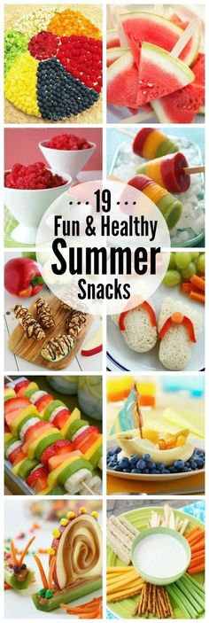 Healthy Snacks Lots of fun and healthy summer snack ideas! The kids will love these! - Summer is the perfect time to get your kiddos on a healthy eating routine. Give one of these healthy summer snack ideas a try - your kids will love them! Healthy Summer Snacks, Summer Treats, Healthy Treats, Healthy Kids, Healthy Eating, Healthy Recipes, Summer Kids Snacks, Summer Lunches, Good Snacks For Kids