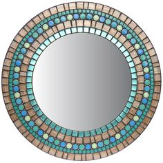 MIRROR DESCRIPTION This round mosaic mirror design is part of Opus Mosaics Affinity Collection and prominently features copper metallic streaked glass mosaic tile as well as real copper beads. It is available on a made-to-order basis and is personally handcrafted by mosaic artist Josh Mirror Mosaic, Mirror Art, Glass Mosaic Tiles, Mosaic Art, Mosaics, Stained Glass Birds, Stained Glass Panels, Broken China Crafts, Mosaic Tile Designs