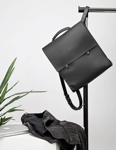 Black leather backpack-handbag Women city bag Minimalist