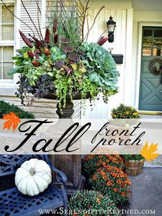 Fall Front Porch Autumn DIY Urn Decorating - #fall #urn #fallporch