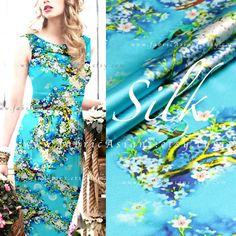 tissu Soie Turquoise Motif Fleurs. Grande quantité : Tissus Habillement, Déco…