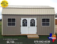 derksen portable building, garden shed, metal barn, metal storage barn, side lofted barn, utility barn, utility shed