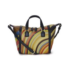 <p>Crafted from grained Italian calf leather, the women's Paul Smith Accessories Mini Ziggy Leather Tote Bag is adorned with an all-over swirl print. Adorned with navy trims, the tote bag has a twin zip fasten which opens to reveal a spacious, lined interior that houses a zipped pocket and a slip pocket. Accentuated with gold-toned hardware and a raised Paul Smith logo, the bag is carried either with the top grab handles or the detachable, adjustable shoulder strap. - L.M.</p> <p>Measures…