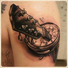 Guitar Clock Tattoo by Kid Kros