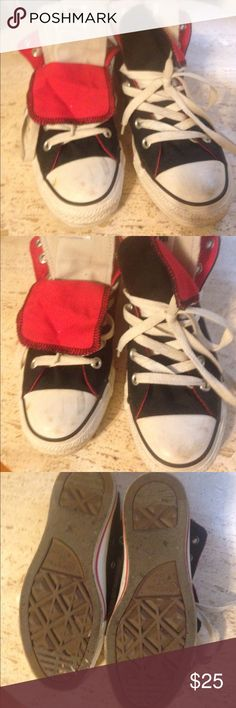 Black and red high top double tongue converse This is a pair of black and red high top double tongue converse sneakers. They do have some scuffs on the front of the shoe but otherwise in good condition, women's size 6 Converse Shoes Sneakers