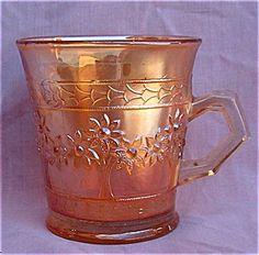 FENTON ORANGE TREE MARIGOLD  CARNIVAL GLASS MUG