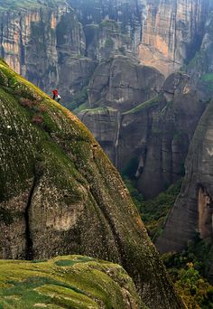 Two climbers partway up the holy rocks of Meteora, Greece. - Imgur