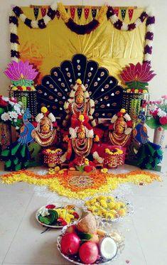 Gowri Board Decoration, Backdrop Decorations, Diwali Decorations, Festival Decorations, Wedding Decorations, Ganpati Decoration At Home, Housewarming Decorations, Ganapati Decoration, Ganesha Pictures