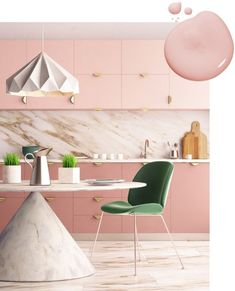 Kitchen Cabinet Kings Ideas | Kitchen Cabinet Paint Colors -- PINK Rose: Add a royally feminine touch to your kitchen with pink cabinets paired with warm marble and touches of brilliant gold hardware.