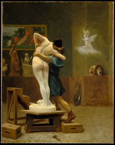 Pygmalion, by Jean-Léon Gérôme  He fell so deeply in love with his creation that his love brought her to life. This painting depicts the moment that life has just begun to flow into her. This is my favorite painting on earth, and always has been.
