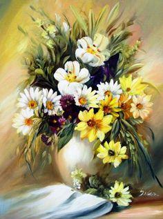 by Szechenyi Szidonia (artist) Beautiful Landscape Wallpaper, Beautiful Artwork, Beautiful Flowers, Art Floral, Floral Watercolor, Flower Vases, Flower Art, Artist Painting, Watercolor Paintings