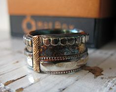 Viking Ring Man Wedding Band Wide Gold by HotRoxCustomJewelry