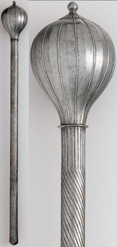 Ottoman bozdogan / buzdygan (round headed mace), 16th century, steel. Length overall 28 in. ( 71.12 cm) Length of head 4 1/2 in. ( 11.43 cm) Gr. width 2 13/16 in. ( 7.14 cm) Weight 2 lb. 12 oz. ( 1247 gm), Gift of William H. Riggs, 1913. Metropolitan Museum of Art, New York.