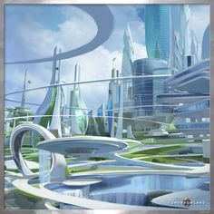 landscape architecture - When I touched the pin, I saw some place amazing Casey Newton Tomorrowland Futuristic City, Futuristic Design, Futuristic Architecture, Amazing Architecture, City Architecture, Fantasy City, Fantasy Places, Fantasy World, Future City
