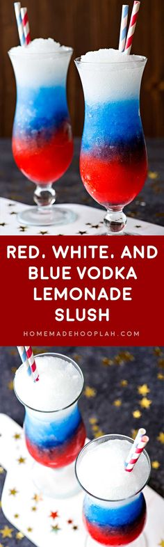 Red White and Blue Vodka Lemonade Slush! Happy of July! Celebrate your patriotism with a refreshing slush made with grenadine, blue curacao, and spiked lemonade. Holiday Drinks, Party Drinks, Cocktail Drinks, Liquor Drinks, Vodka Summer Drinks, Mixed Alcoholic Drinks, Mixed Drinks With Vodka, Slushy Alcohol Drinks, Blue Curacao Drinks
