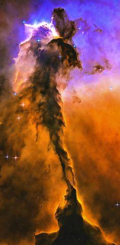 Space image Eagle Nebula orange purple blue. Digital enhanced photo that looks amazing as large print or poster: http://matthias-hauser.artistwebsites.com/featured/space-image-eagle-nebula-orange-purple-bue-matthias-hauser.html Credit for the original image: NASA, ESA, and The Hubble Heritage Team.
